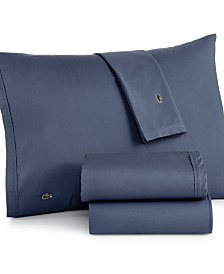 Lacoste Solid Cotton Percale Full Sheet Set
