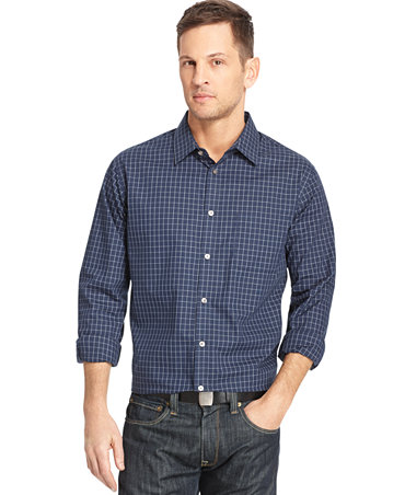 Van heusen big and tall long sleeve traveler dress shirt for Big and tall casual shirts