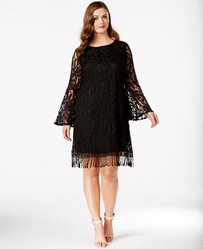 ING Plus Size Lace Fringe-Trim Dress - Dresses - Plus Sizes - Macy\'s