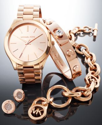 Michael Kors Rose Gold-Tone Gift Set - Watches - Jewelry & Watches ...