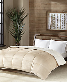 Premier Comfort Reversible Micro Velvet and Sherpa Down Alternative King Comforter, Hypoallergenic