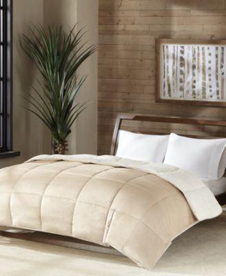 premier comfort reversible micro velvet and sherpa down alternative king comforter