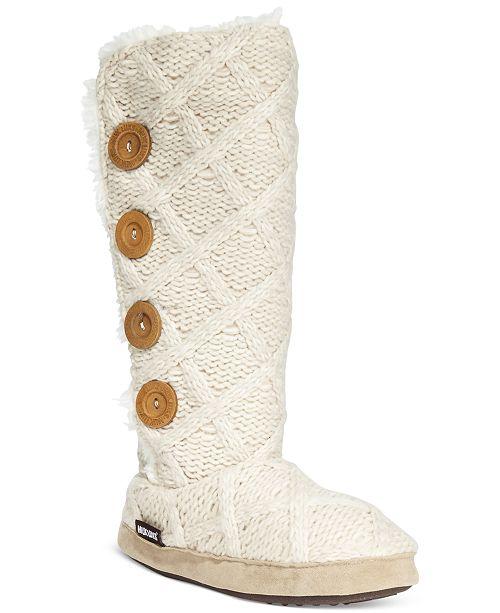 Muk Luks Malena Faux-Shearling Sweater Boot Slippers