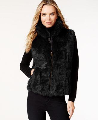 Surell Pockets & Front Zip Rabbit Fur Vest