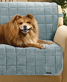 Sure Fit Velvet Deluxe Pet Armless Sofa Slipcover with Sanitize Odor Release