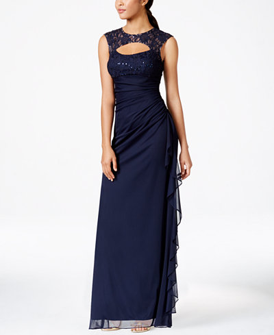 B&A by Betsy and Adam Lace-Trim Cutout Ruched Gown