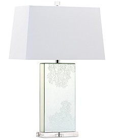 CLOSEOUT! Coral Rectangle Mirror Crystal Table Lamp