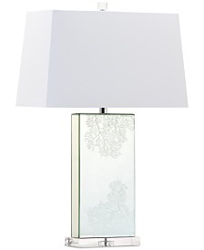 CLOSEOUT! Decorator's Lighting Coral Rectangle Mirror Crystal Table Lamp