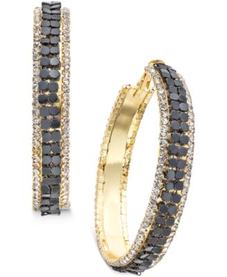 Image of Thalia Sodi Gold-Tone Metal Mesh and Crystal Hoop Earrings, Only at Macy's