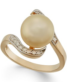 Golden South Sea Pearl (10mm) and Diamond Ring in 14k Gold