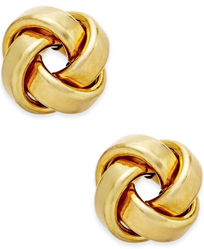 Italian Gold - Love Knot Stud Earrings in 14k Gold