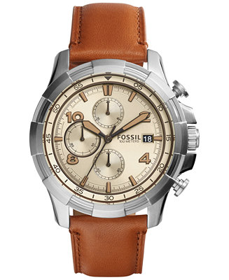 Fossil Men's Chronograph Dean Light Brown Leather