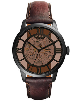 45aad15baa870 Fossil Men's Automatic Townsman Dark Brown Leather Strap Watch ...