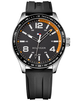 Tommy Hilfiger Men's Black Rubber Strap Watch