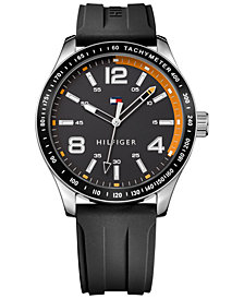 Tommy Hilfiger Men's Black Rubber Strap Watch 44mm 1791173, Created for Macy's