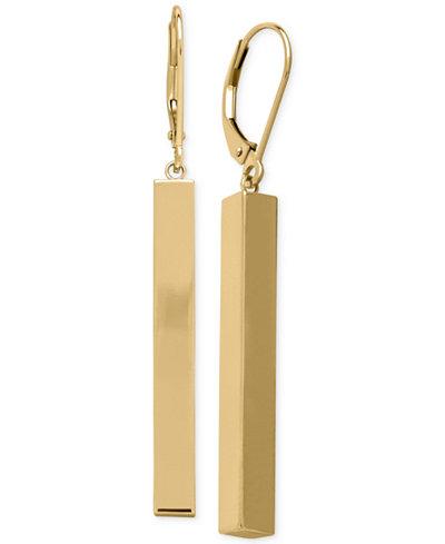 Tube Linear Drop Earrings in 14k Gold