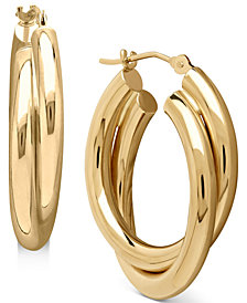 Double Hoop Earrings in 14k Gold