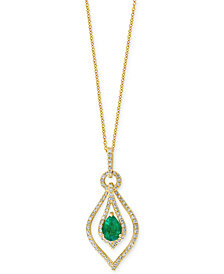 EFFY Emerald (5/6 ct. t.w.) and Diamond (1/3 ct. t.w.) Pendant Necklace in 14k Gold