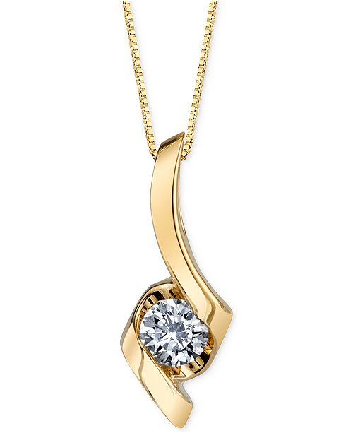 Macy's Sirena Diamond Twist Pendant Necklace (1/4 ct. t.w.) in 14k Gold, White or Rose Gold