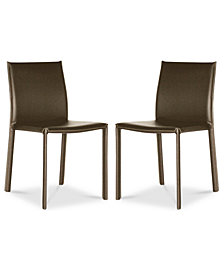 Andorra Set of 2 Faux Leather Dining Chairs, Quick Ship