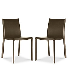 Andorra Set Of 2 Faux Leather Dining Chairs Quick Ship