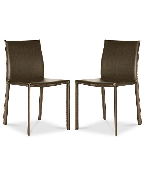 Furniture  Andorra Set of 2 Faux Leather Dining Chairs, Quick Ship