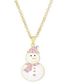 Children's Enamel Snowman Pendant Necklace in 18k Gold over Sterling Silver