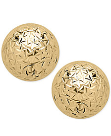 Crystal-Cut Ball Stud Earrings (8mm) in 14k Gold