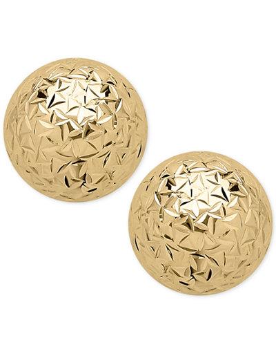 Crystal-Cut Ball Stud Earrings (8mm) in 14k Gold