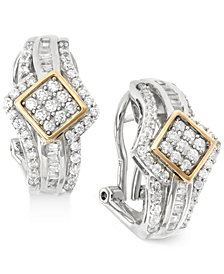 Wrapped in Love™ Diamond J-Hoop Earrings (1 ct. t.w.) in 14k Gold and Sterling Silver, Created for Macy's
