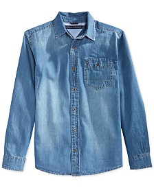 Tommy Hilfiger Long-Sleeve Max Denim Shirt, Big Boys
