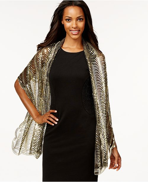 Betsey Johnson Cejon Sequin Tulle Evening Wrap Scarf