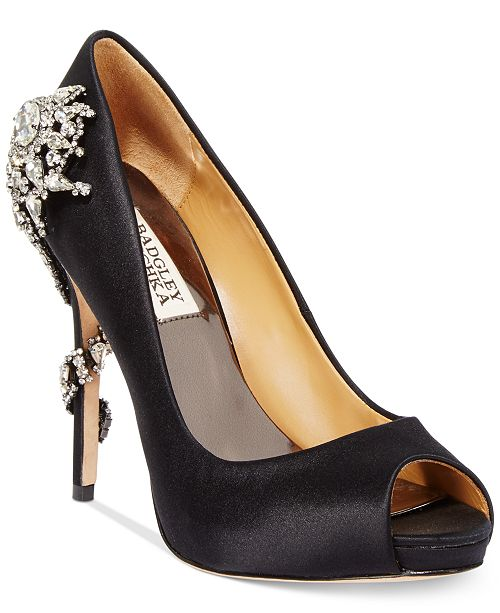 Badgley Mischka Royal Embellished Peep-Toe Evening Pumps