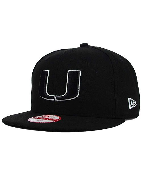 size 40 f8da5 9ae75 ... New Era Miami Hurricanes Black White 9FIFTY Snapback Cap ...