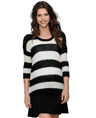 Design History Maternity Striped Three-Quarter-Sleeve Sweater