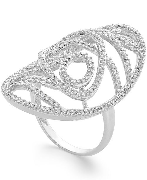 Macy's Diamond Open Oval Large Ring (3/4 ct. t.w.) in 14k Gold or White Gold
