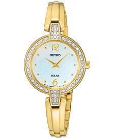 Seiko Women's Solar Gold-Tone Stainless Steel Bracelet Watch 27mm SUP290