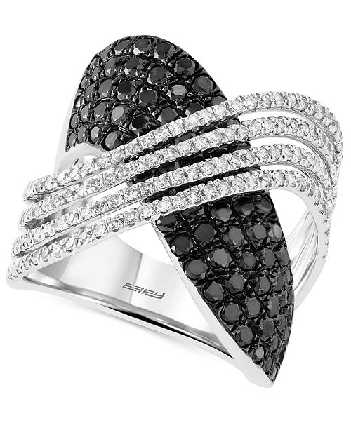 EFFY Collection Caviar By EFFY® Black and White Diamond (2 ct. t.w.) Crossover Ring in 14k White Gold