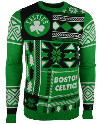 Forever Collectibles Mens Boston Celtics Patches Christmas Sweater