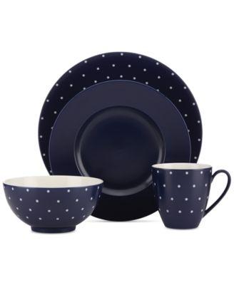 Larabee Dot Navy Collection Stoneware 2-Pc. Lidded Sugar Bowl