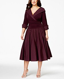 Plus Size Portrait Collar A-Line Dress