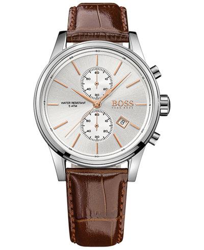 BOSS Hugo Boss Men's Chronograph Jet Brown Leather Strap Watch 41mm 1513280