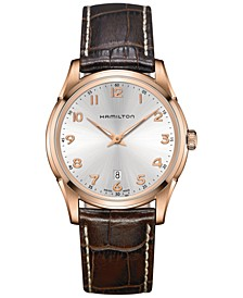 Men's Swiss Jazzmaster Brown Leather Strap Watch 42mm H38541513