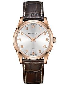 Hamilton Men's Swiss Jazzmaster Brown Leather Strap Watch 42mm H38541513