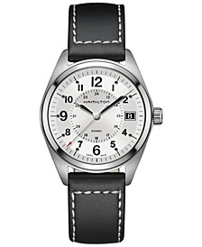 Men's Swiss Khaki Field Black Leather Strap Watch Watch 40mm H68551753