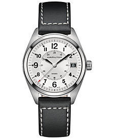 Hamilton Men's Swiss Khaki Field Black Leather Strap Watch Watch 40mm H68551753