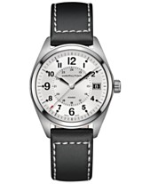 Hamilton Men s Swiss Khaki Field Black Leather Strap Watch Watch 40mm  H68551753 533d862ce2b