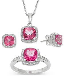 Pink Topaz (6-1/5 ct. t.w.) and Diamond Accent Jewelry Set in Sterling Silver