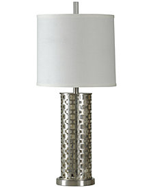 StyleCraft Brush Steel with Night Light Traditional Metal Table Lamp