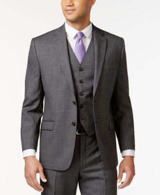 Grey Sharkskin Big and Tall Jacket